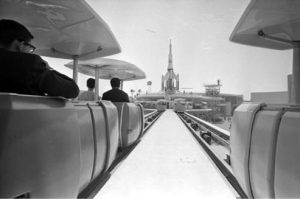 PeopleMover cars prior to any safety rails additions